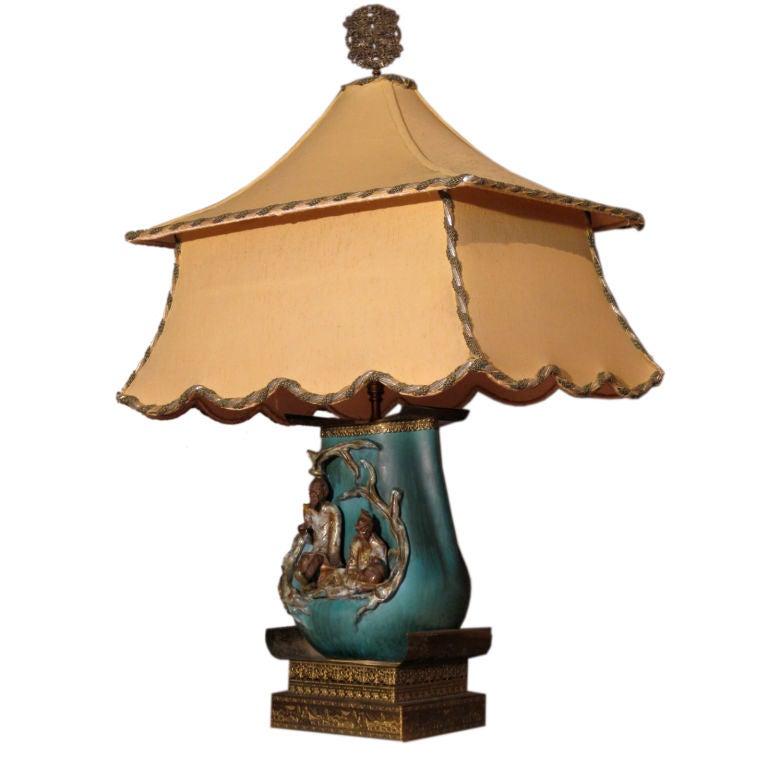 Fantoni Chinoiserie Ceramic Lamp W Original Pagoda Shade