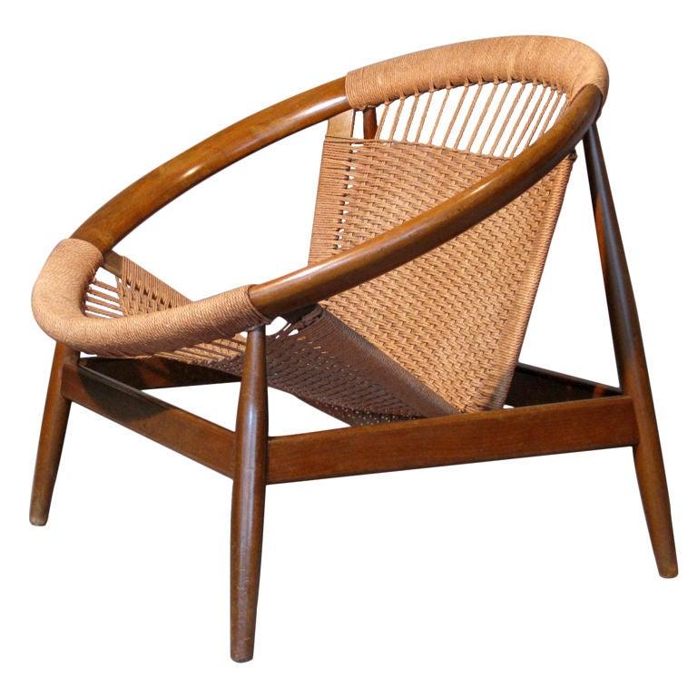 Danish Hardwood and Rope Circular Lounge Chair at 1stdibs