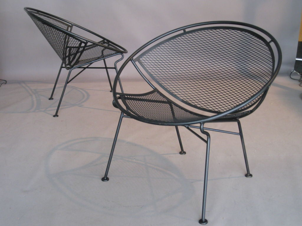 pair of salterini wrought iron lounge chairs at 1stdibs