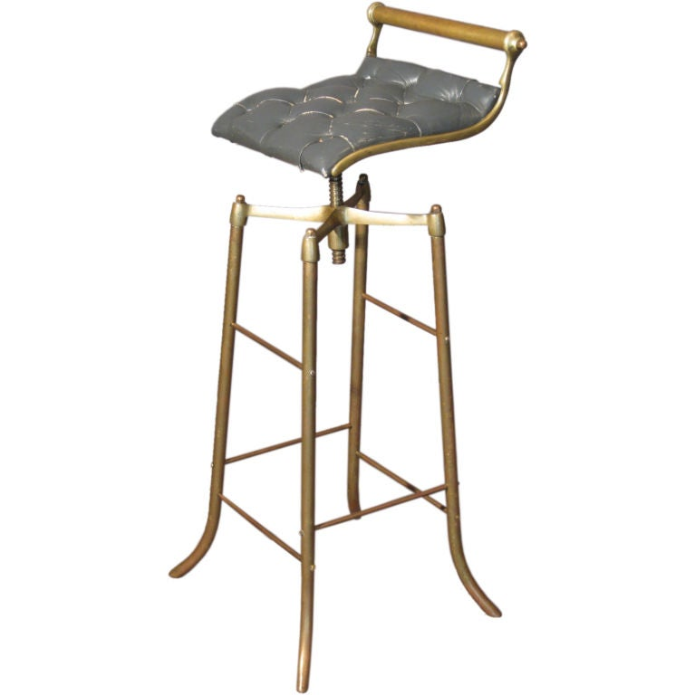 Brazilian Adjustable Height Brass Bar Stool C 1950 S At
