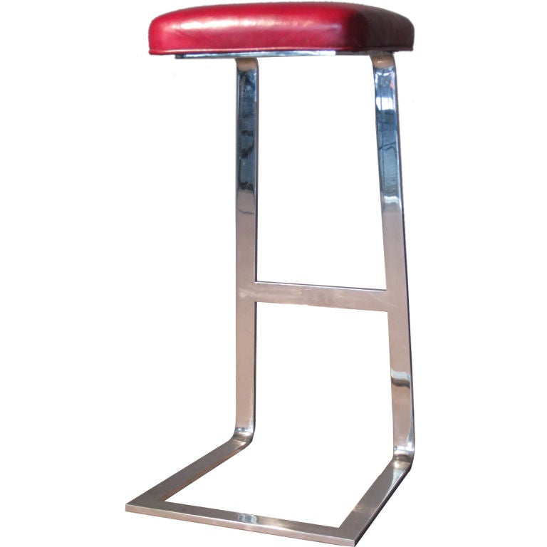 Milo Baughman Polished Stainless Steel Bar Stool At 1stdibs