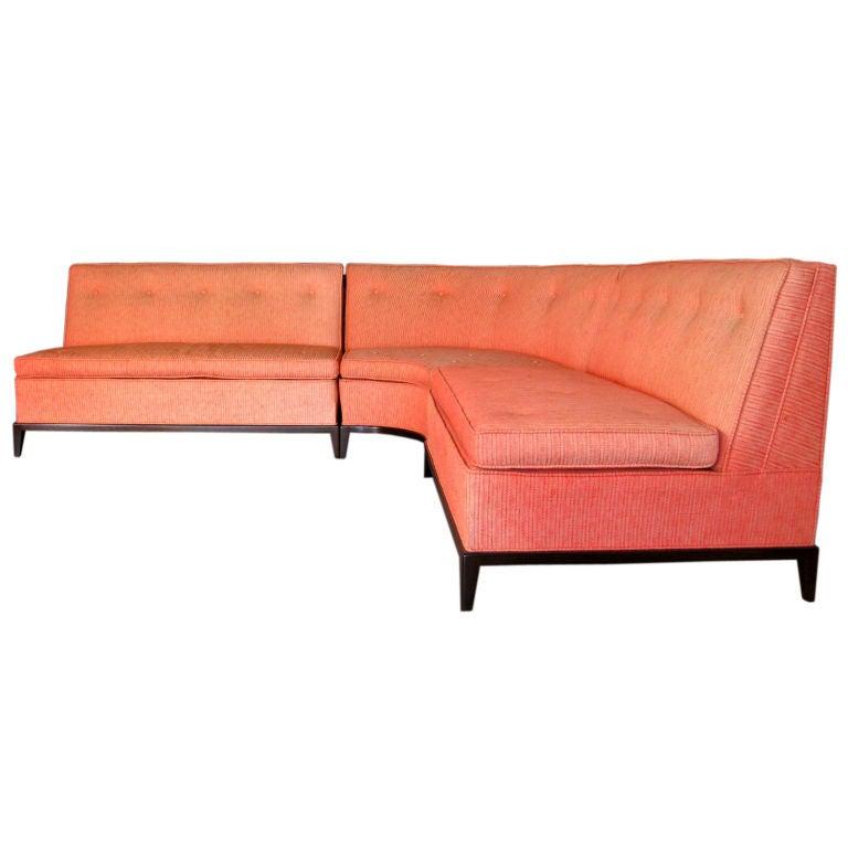 Th robsjohn gibbings three piece curved sectional sofa for Two piece curved sectional sofa