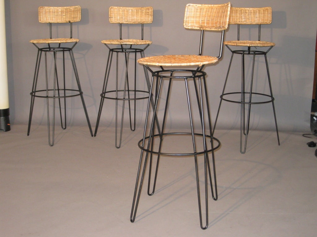 Wrought Iron Bar Stools ~ Set of four sol bloom wrought iron bar stools at stdibs