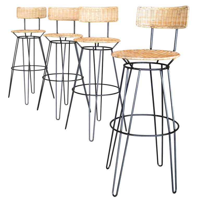 Set Of Four Sol Bloom Wrought Iron Bar Stools At 1stdibs