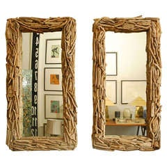 Pair of driftwood mirrors