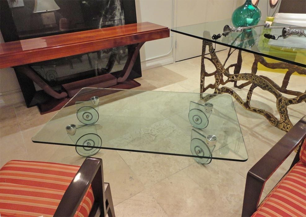 An All Glass Rectangular Cocktail Table On Wheels At 1stdibs