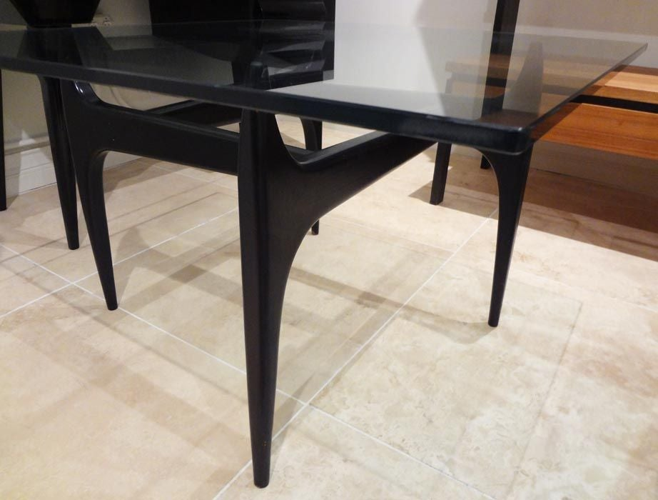 A Square Cocktail Table In Lacquer And Glass By Jos De Mey