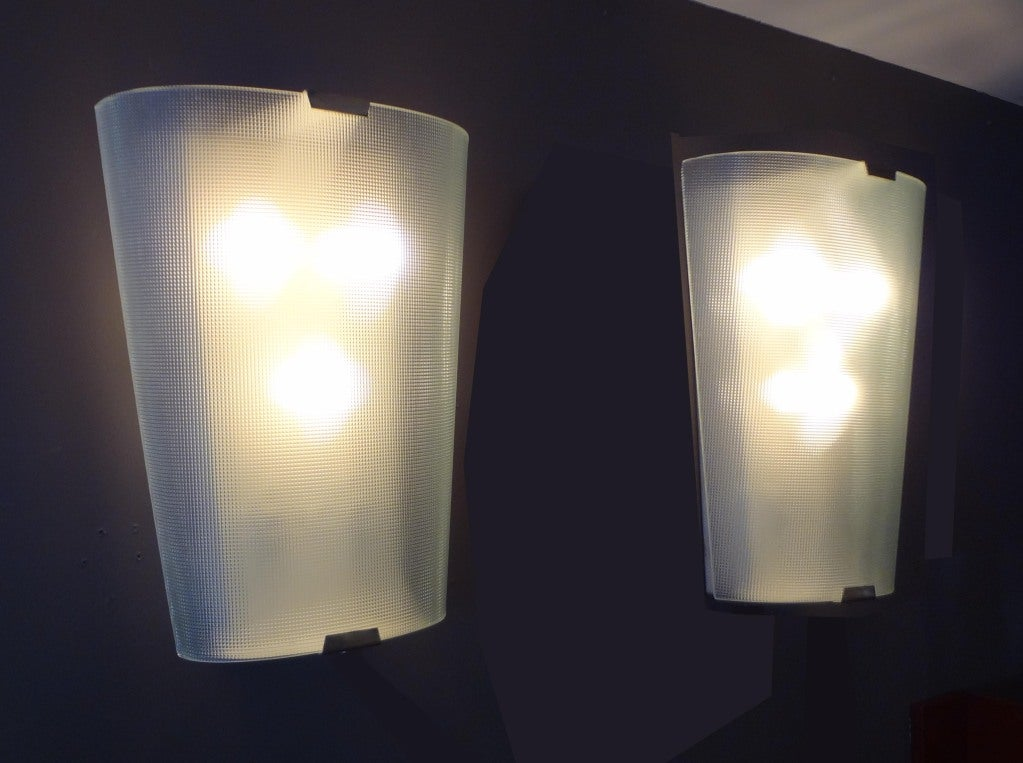 Large Glass Wall Sconces : A Pair of Large Textured Glass Wall Sconces For Sale at 1stdibs