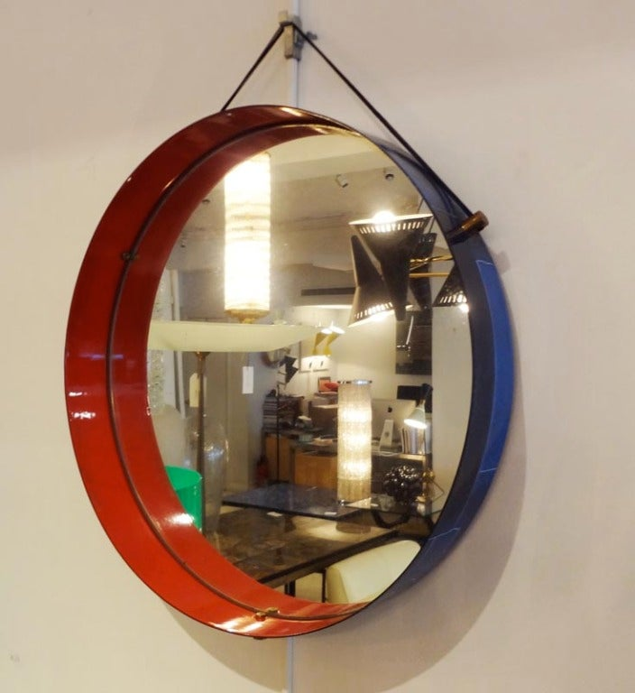 a round wall mirror with an enameled steel frame at 1stdibs. Black Bedroom Furniture Sets. Home Design Ideas
