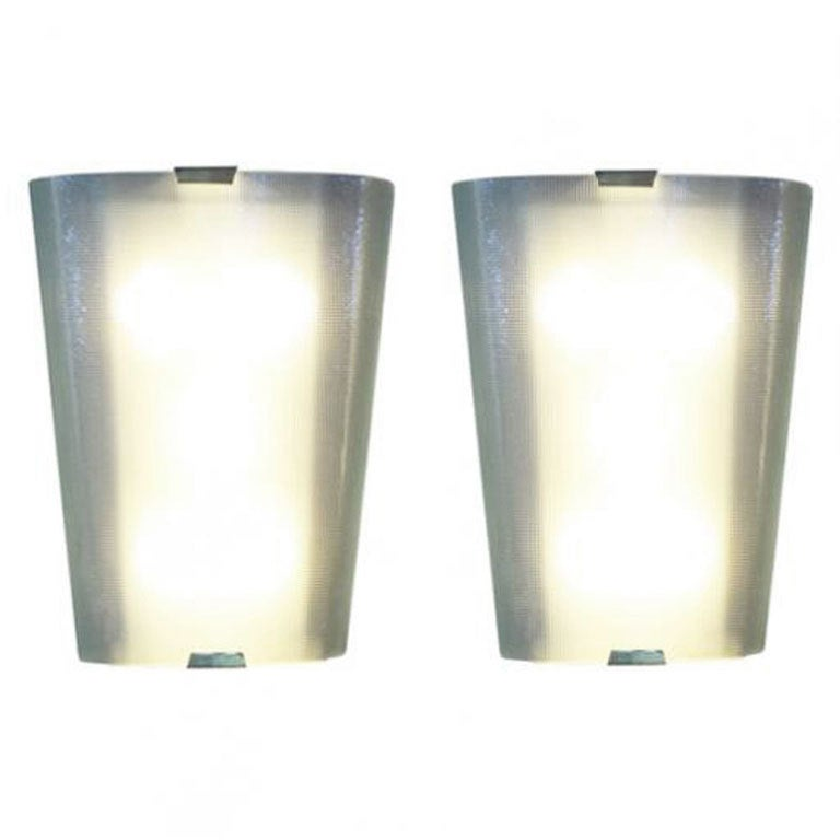 A Pair of Large Textured Glass Wall Sconces For Sale at 1stdibs