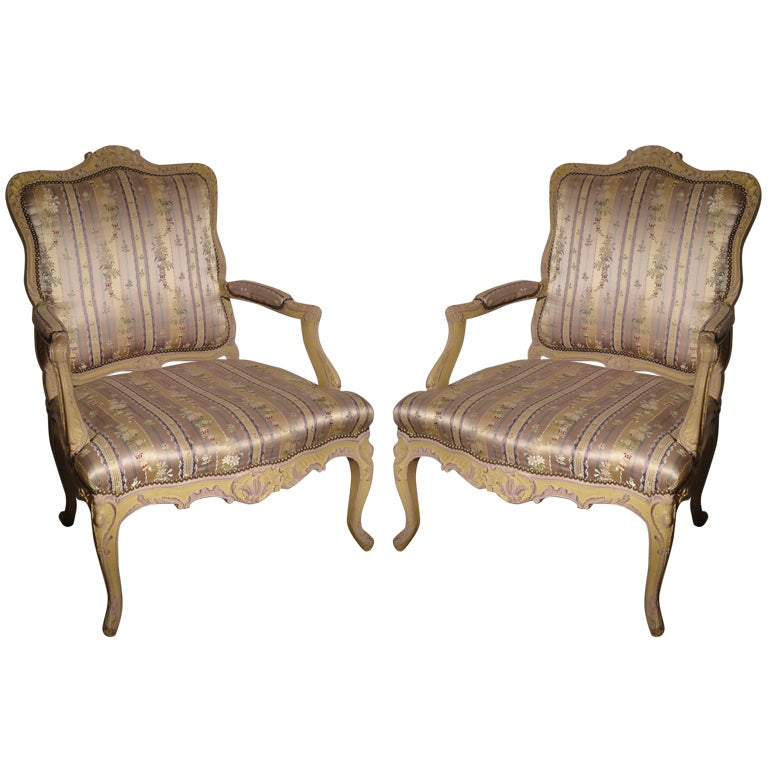 Pair Of Louis Xv Style Painted Fauteuils Of Generous