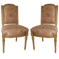 Pair of French Giltwood Side Chairs