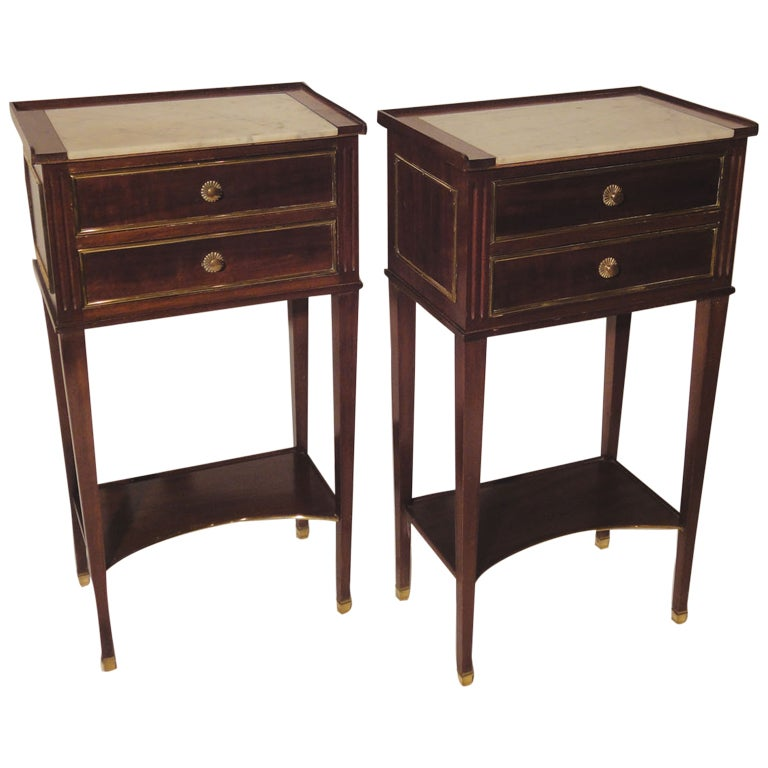 Pair of french side tables with white marble tops for sale for Marble table tops for sale