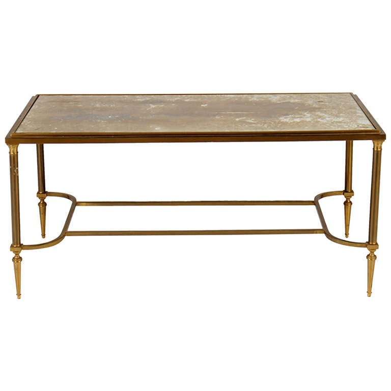 Mid Century French Bronze Coffee Table With Gold Mottled Glass Top At 1stdibs