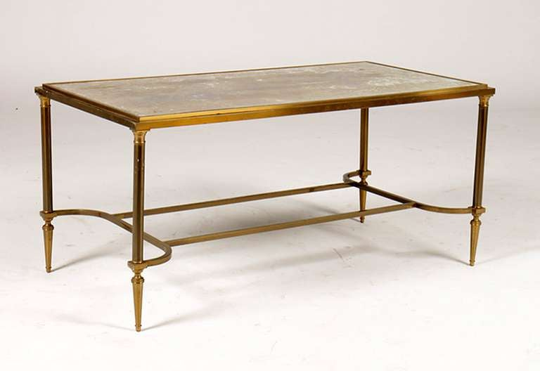 Mid Century French Bronze Coffee Table With Gold Mottled Glass Top For Sale At 1stdibs