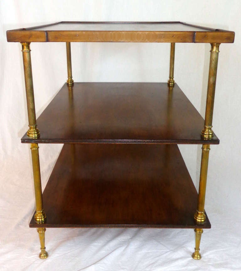 19th century mahogany and brass three tiered side table at for Tinning table model