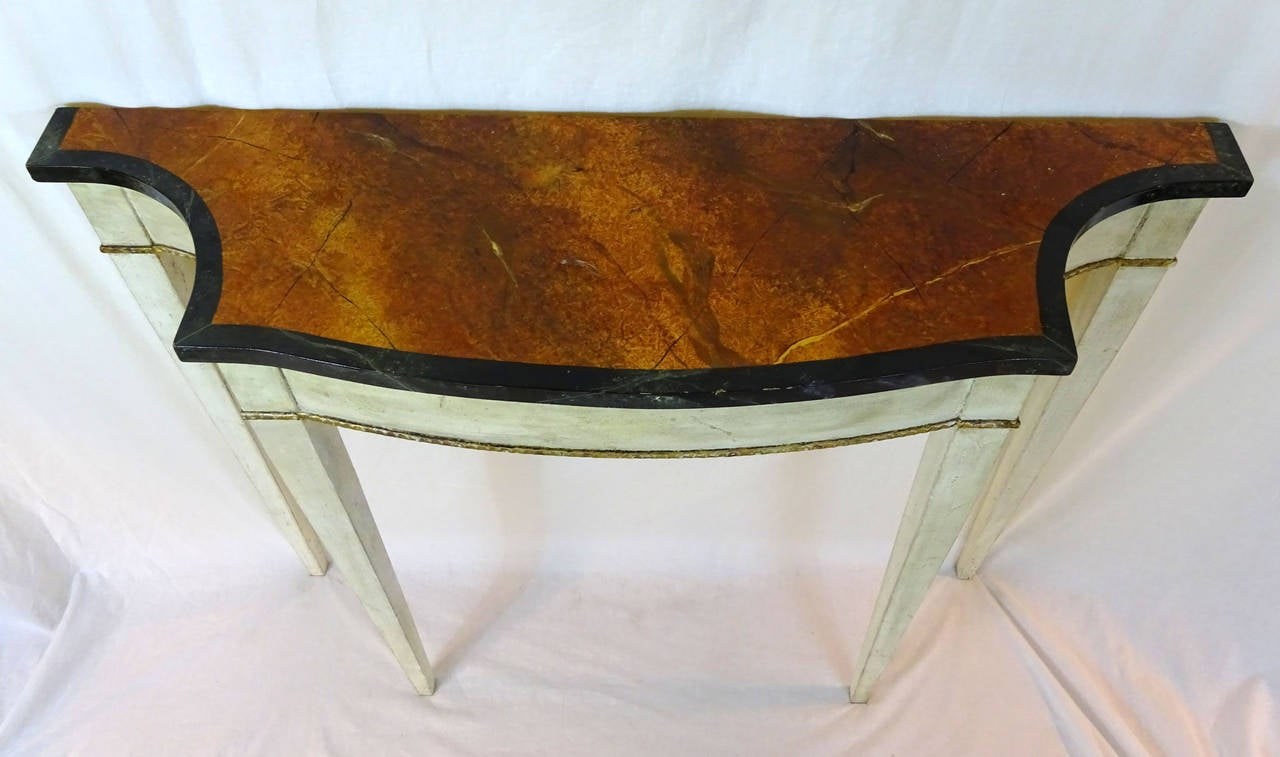 Mid 20th century painted console with faux brown marble for Mid 20th century furniture
