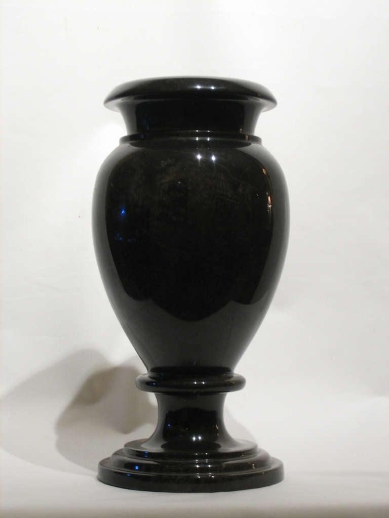 Heavy Black Granite Vase 2