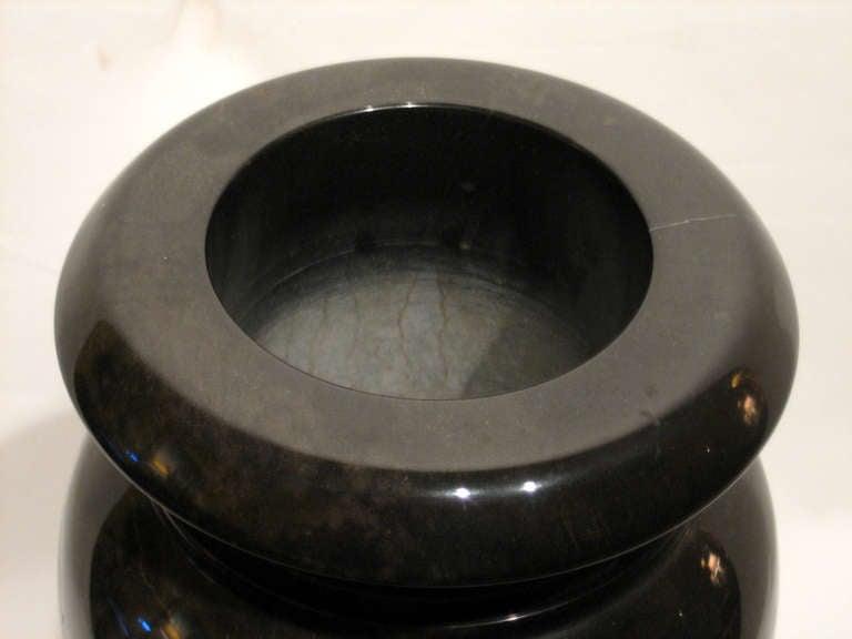 Heavy Black Granite Vase 3