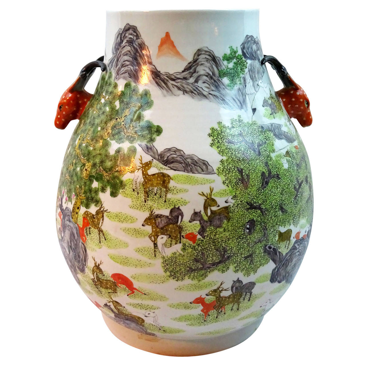 century chinese porcelain jar with red deer head handles at 1stdibs