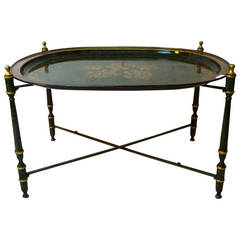 Late 20th Century Italian Tole Tray Table