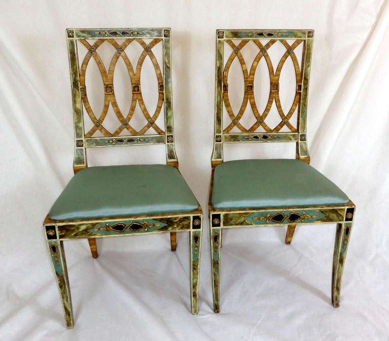 Set Of Four Hand Painted Italian Chairs At 1stdibs