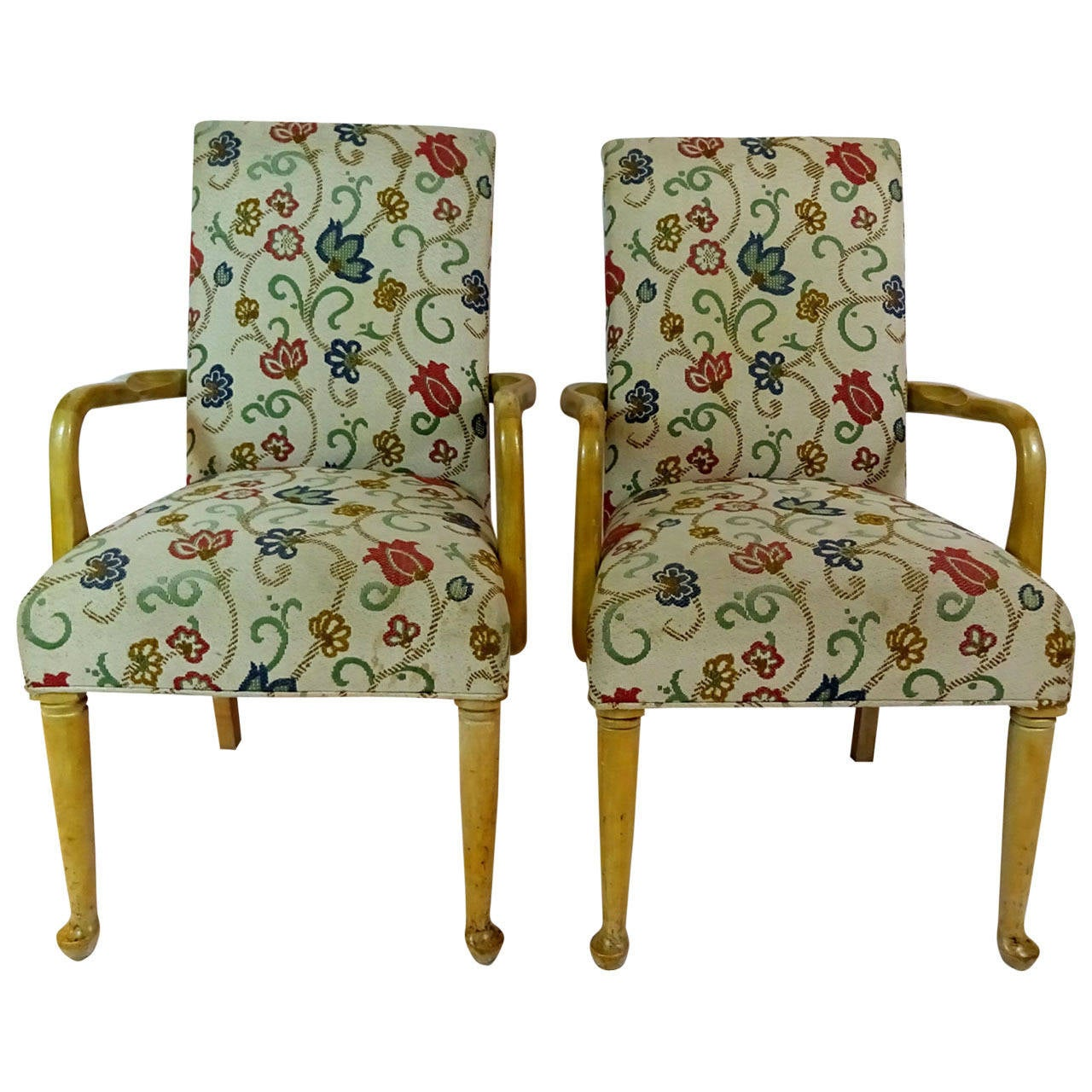 Pair of 20th century modern queen anne style armchairs at for Modern queen anne furniture