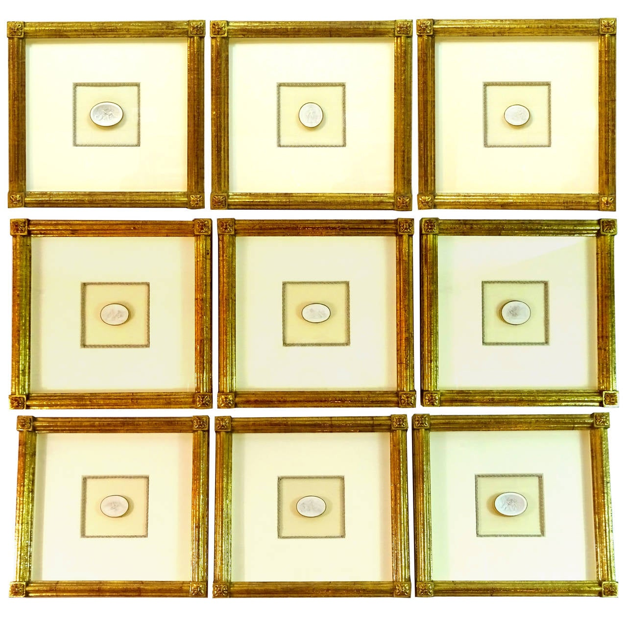 east and orient company collection of nine museum quality framed intaglios