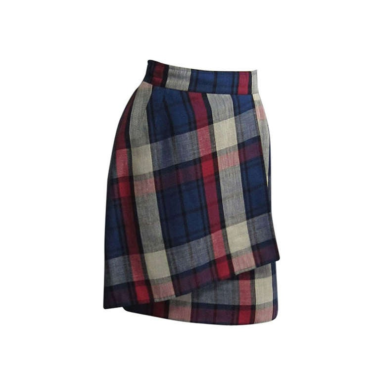 VALENTINO Boutique Plaid Linen Faux Wrap Skirt 1