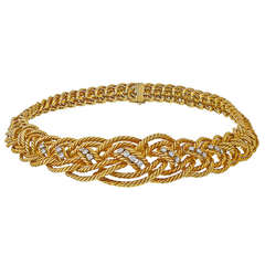 Boucheron Diamond Gold Twisted Rope Necklace