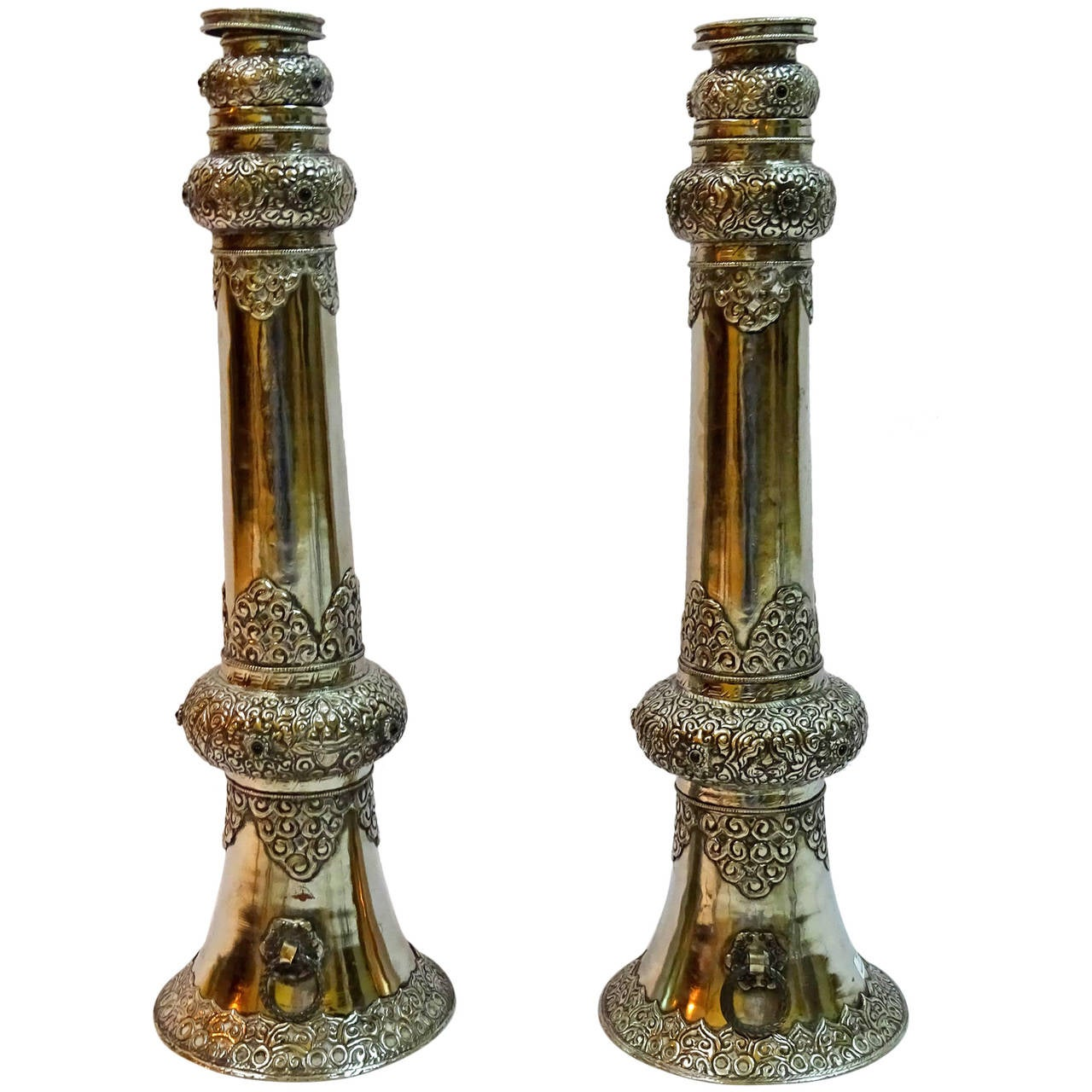 Pair Of Early 20th Century Telescoping Ceremonial Temple