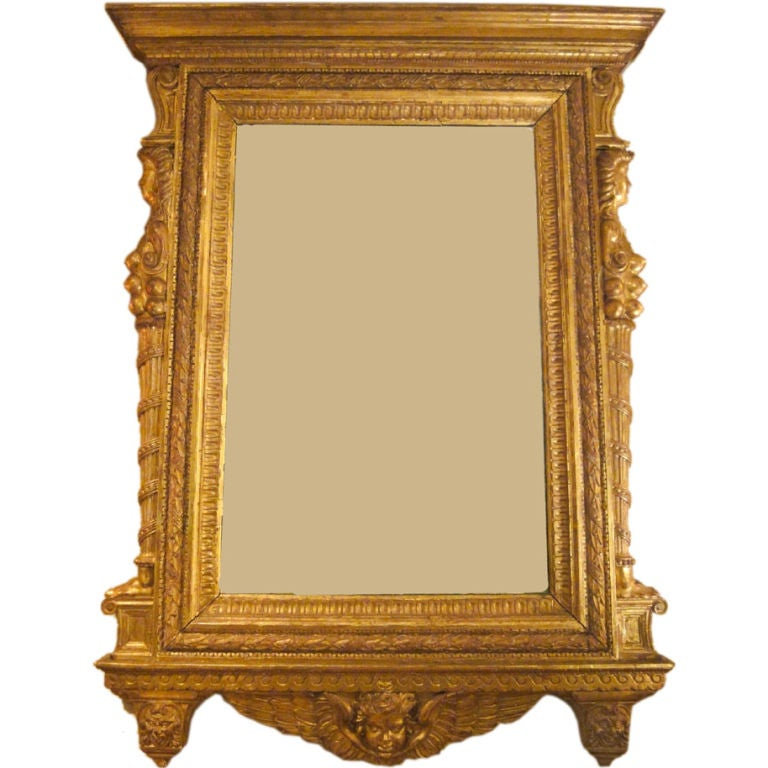 Large size italian gilt wood framed mirror for sale at 1stdibs for Large wall mirror wood frame