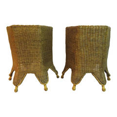 Pair of 20th Century Handwoven Wicker Hexagonal Side Tables