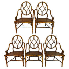 Set of Six Late 20th Century Faux Bamboo Low-Arm Chairs