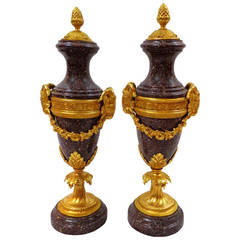 Pair of 19th Century French Marble and Bronze Doré Urns