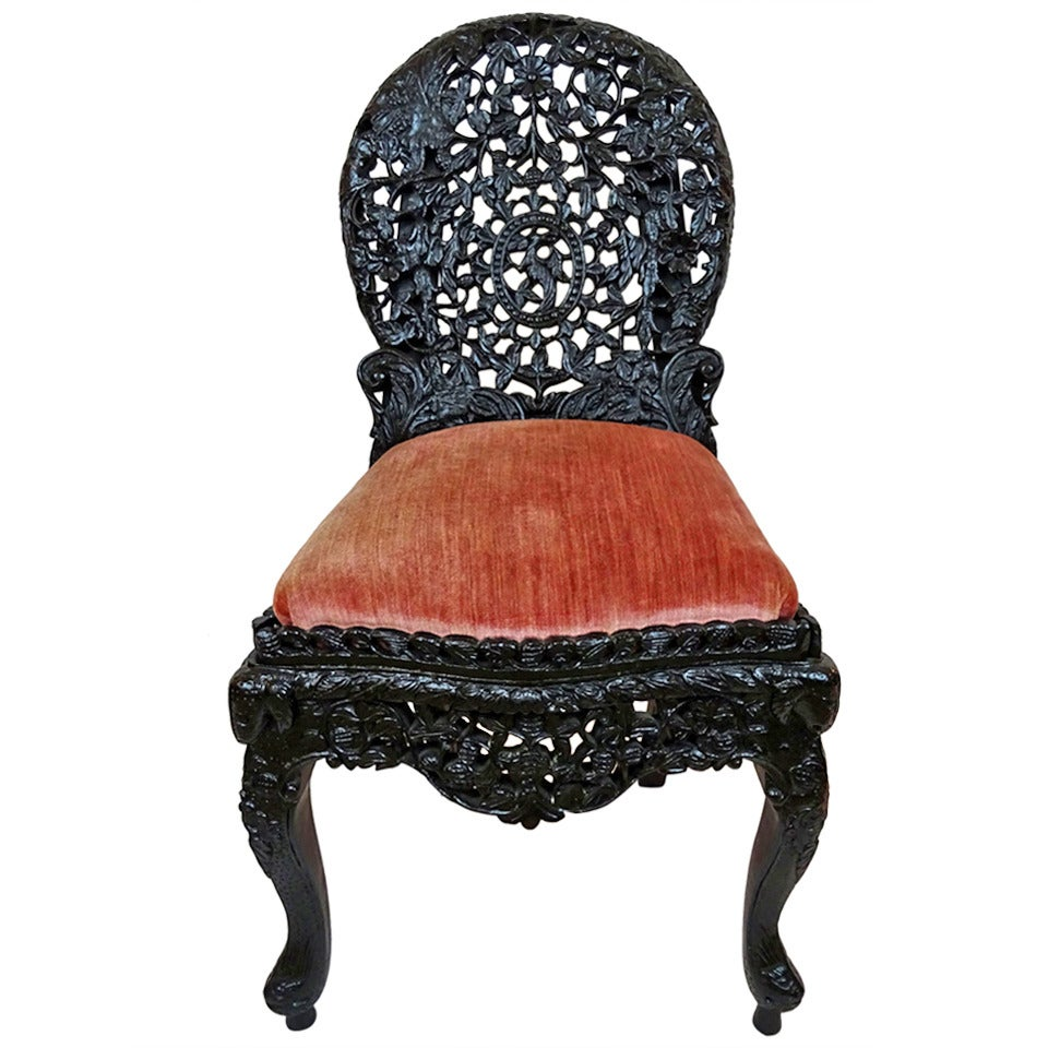 Early 20th century asian carved ebonized parlor chair for for Asian chairs for sale