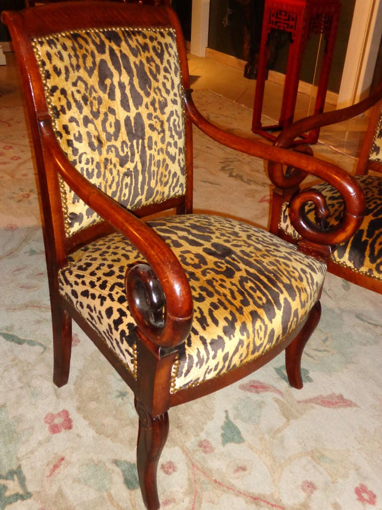 Set Of Four Mahogany Chairs In Leopard Print Velvet At 1stdibs