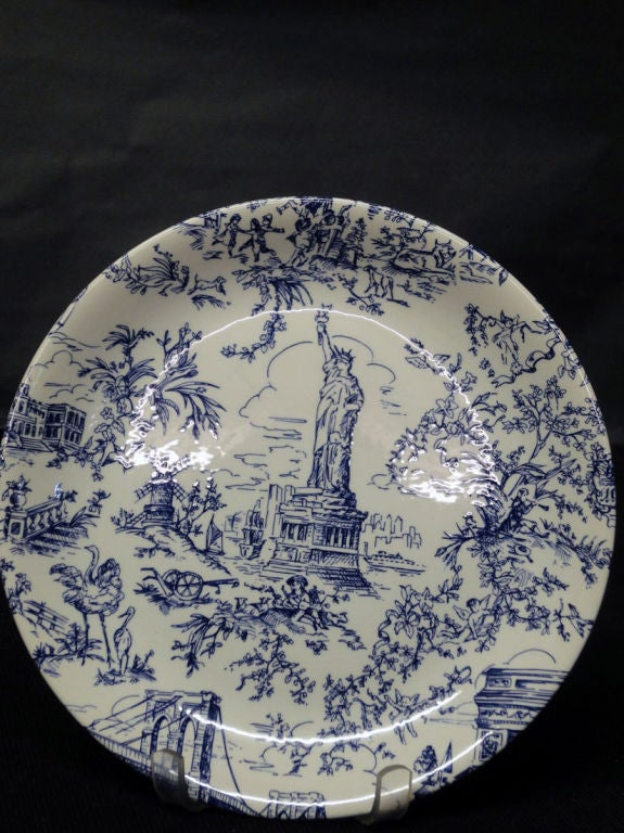 set of new york toile plates and mugs at 1stdibs. Black Bedroom Furniture Sets. Home Design Ideas