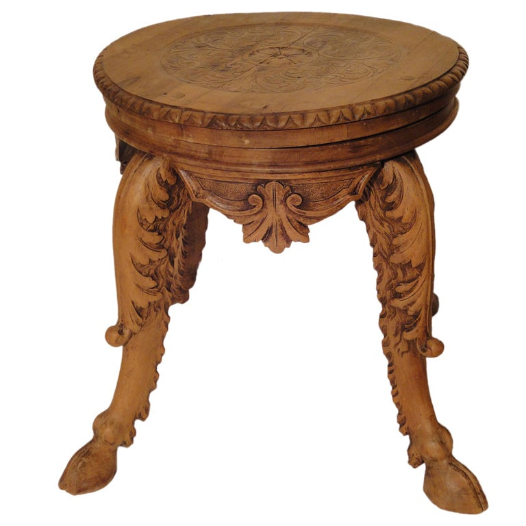 Decorative Carved French Swivel Stool With Hoof Feet At