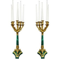 Pair of 19th Century Bronze & Malachite Candelabras