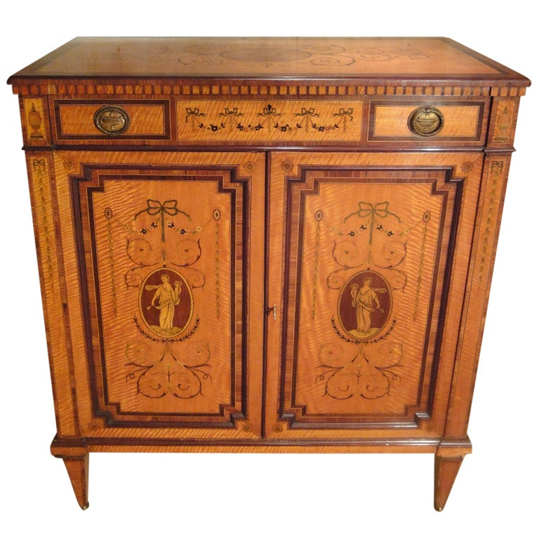Satinwood and Parquetry Cabinet Stamped Edwards and