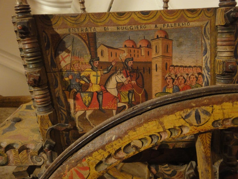 Decorated Sicilian Carved & Painted Donkey Cart 2