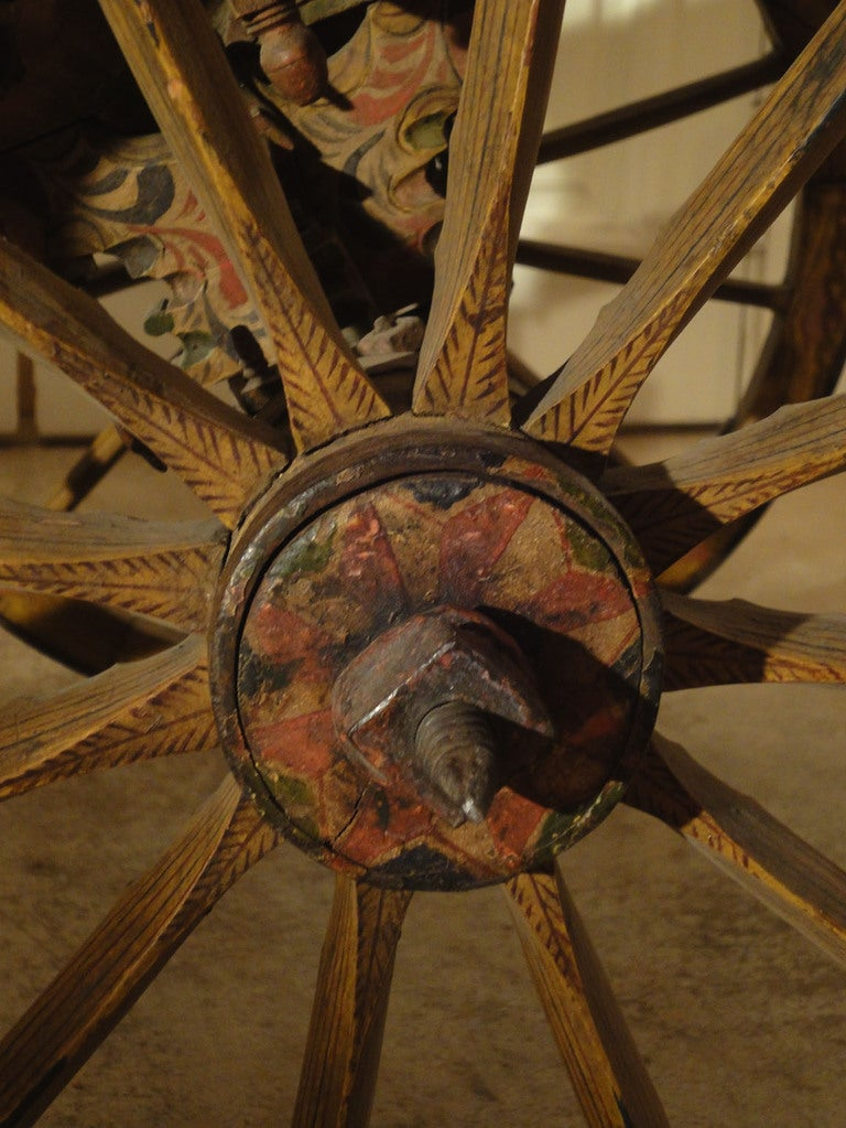 Decorated Sicilian Carved & Painted Donkey Cart 7