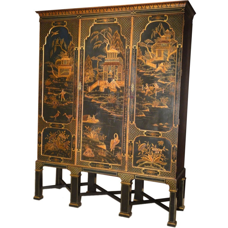 Chinese Style Edwardian Armoire Of Large Proportions At