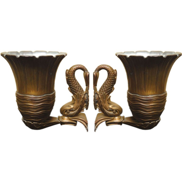 Art Deco Brass Wall Sconces : Pair of Bronze Art Deco Wall Sconce at 1stdibs
