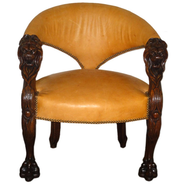 English Tub Chair with Lion\'s Head Armrests and Feet at 1stdibs