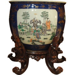 19th Century Chinese Fish Bowl on Stand