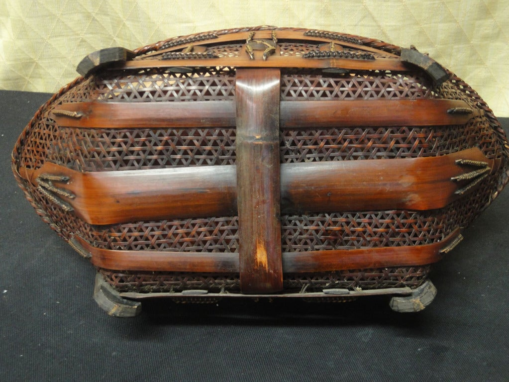 Very unusual old japanese ikebana basket at 1stdibs for Old asian furniture