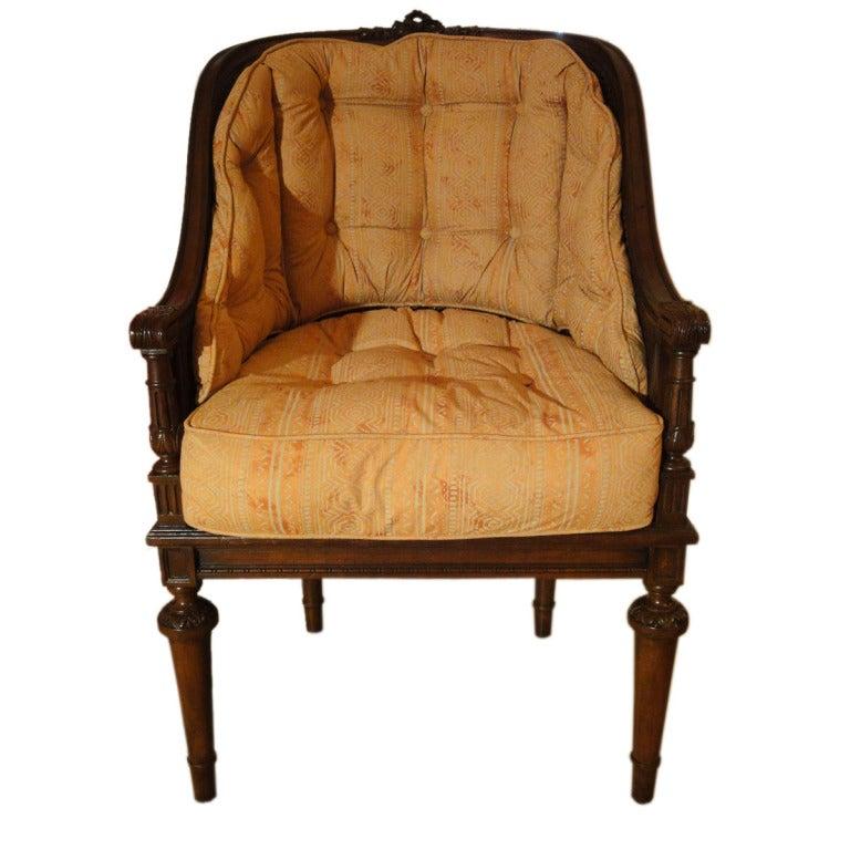 Louis XVI Style Mid-Century Caned Armchair 1