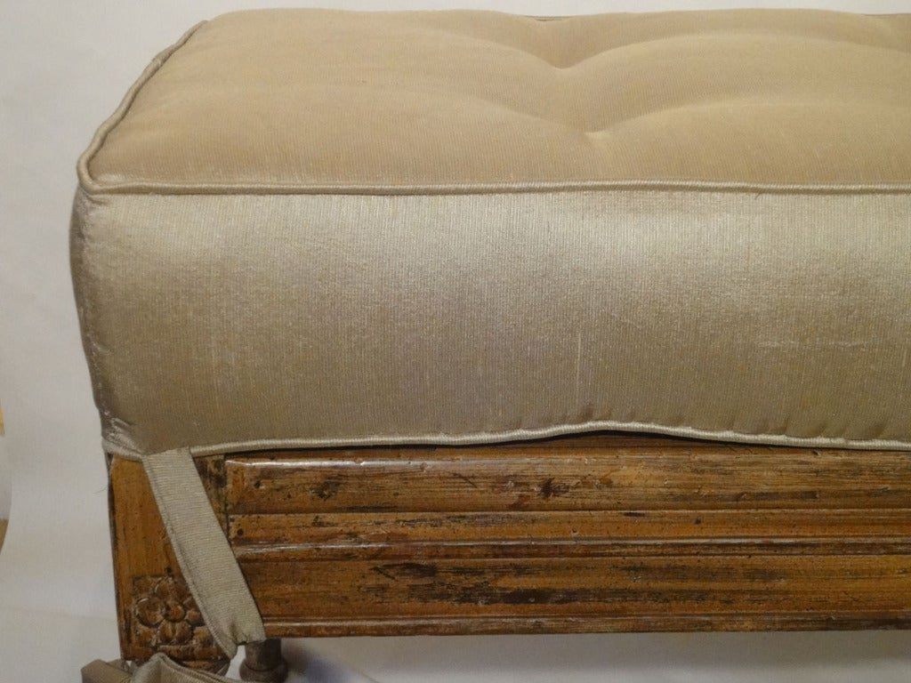 Mid Century Painted Cane Bench With Tufted Silk Cushion At 1stdibs